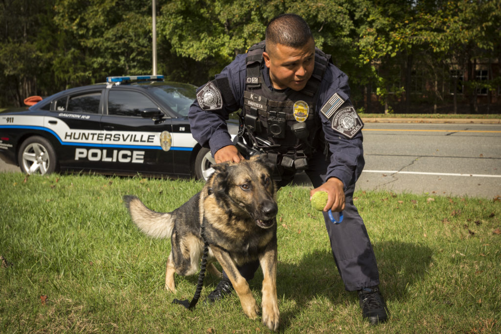 Huntersville Officer Thomas Bautista and his K-9, Ben-o