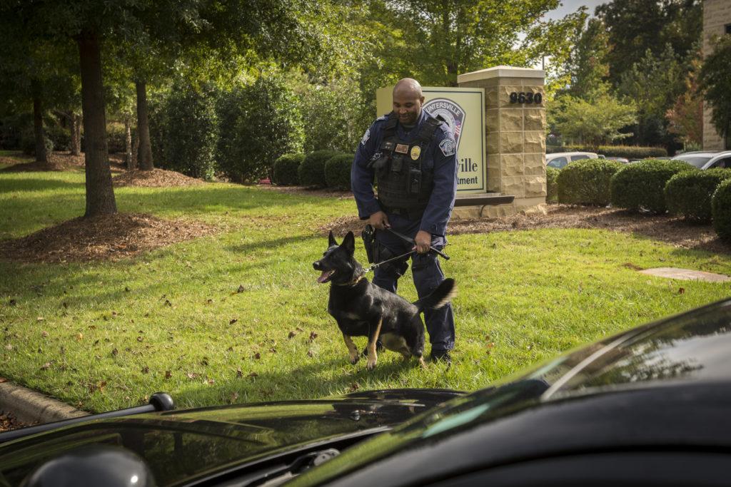 Huntersville Officer Matt Urps and his K-9, Leia.