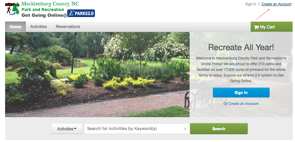 Step 2 to sign up for activities using Eparks 2.0.
