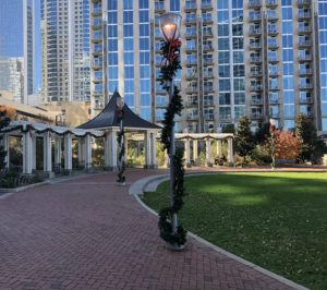 Holiday decorations in Romare Bearden Park.