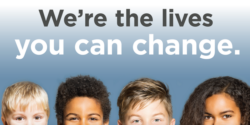 "Faces of young children with text ""we're the lives you can change."""