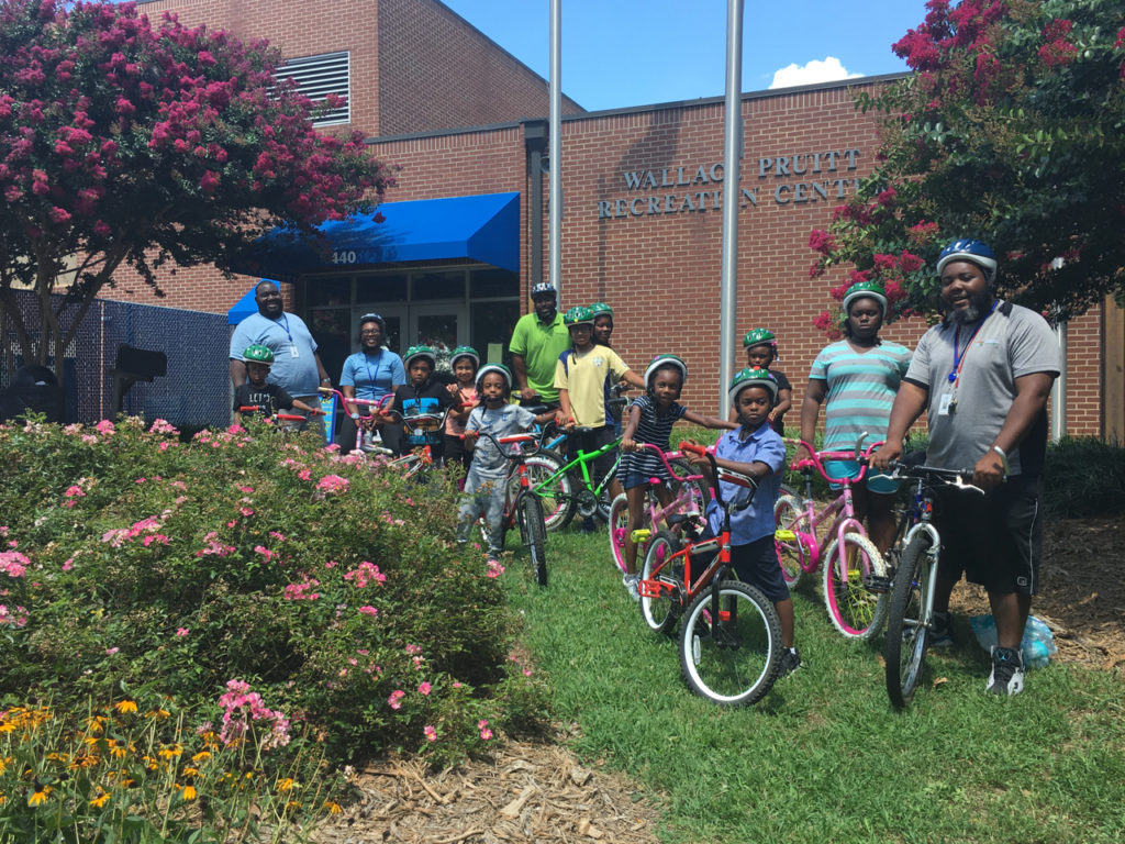 Youth participate in a Park and Rec bike camp