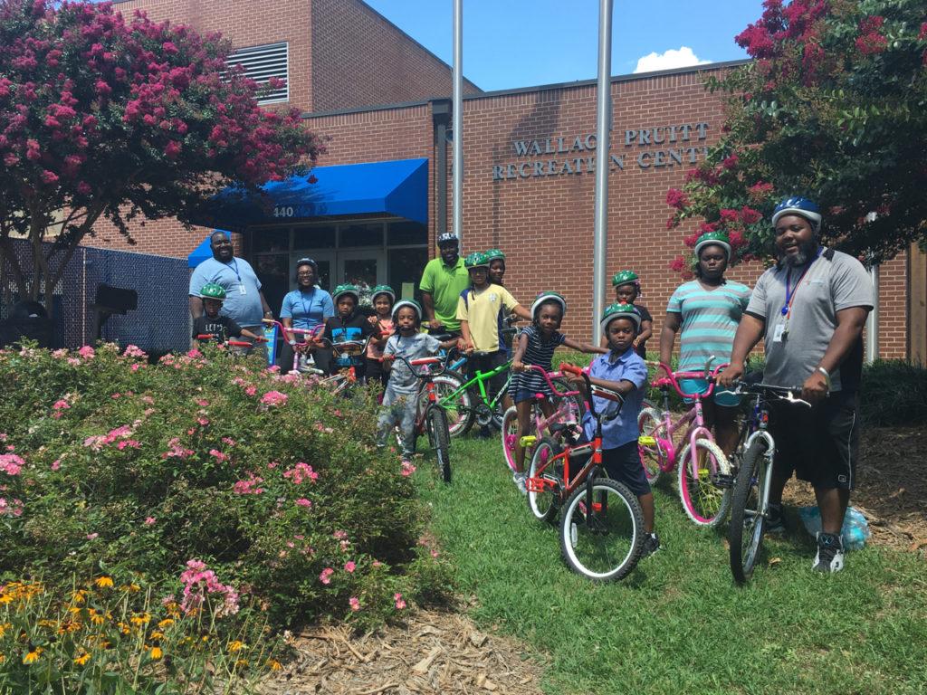 Youth participate in a Park and Rec bike camp