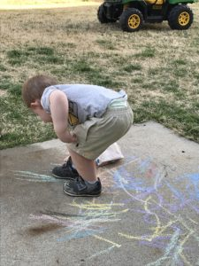 Child playing outside.