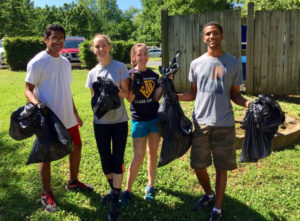Cleaning up trash in Mecklenburg County.