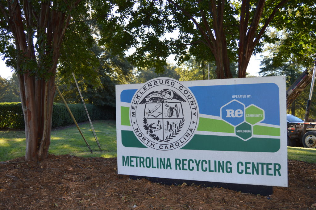 Mecklenburg County's Metrolina Recycling Center sign.