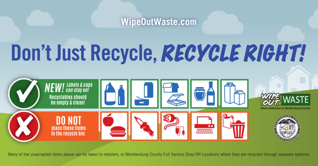 Graphic with guideline about what you can and cannot recycle in Mecklenburg County.