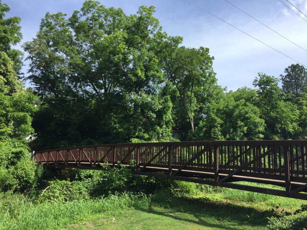a walking bridge along the Mecklenburg County greenway