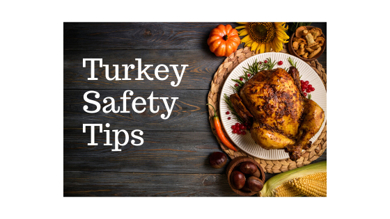 Picture of a turkey on a platter. Text: Turkey Safety Tips