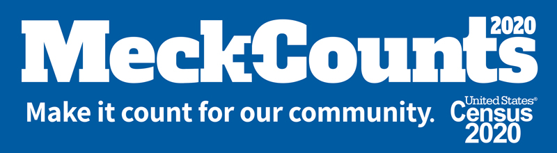 Logo with Text: Meck Counts 2020. Make it count for our community. United States Census 2020.