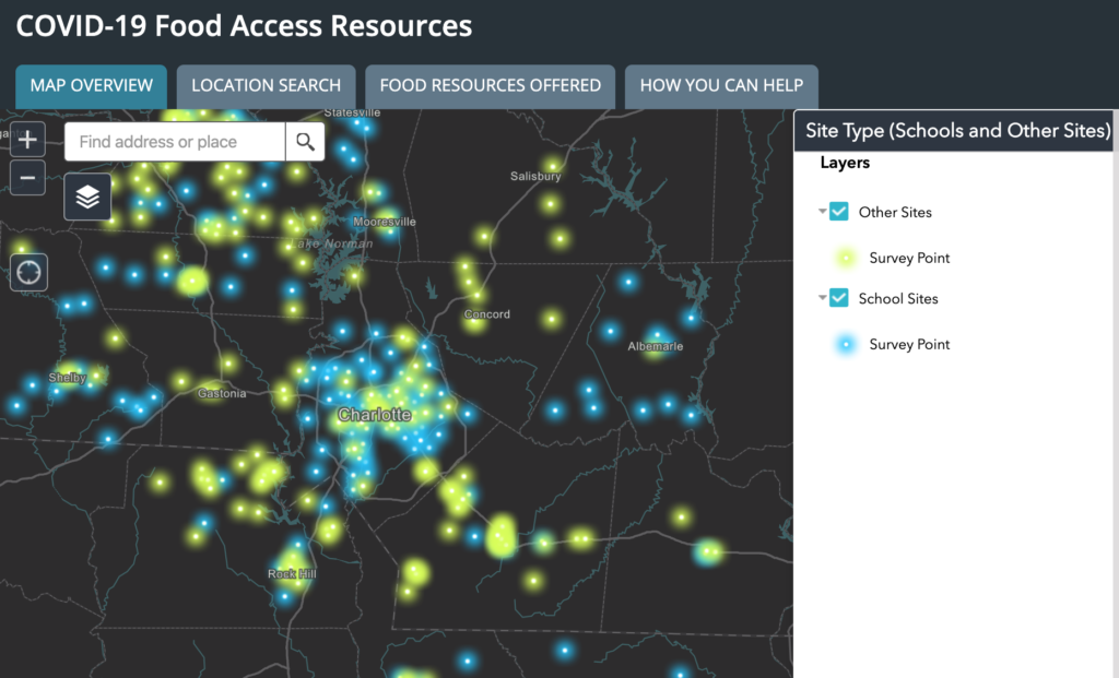 screenshot of food access resources. click to explore.