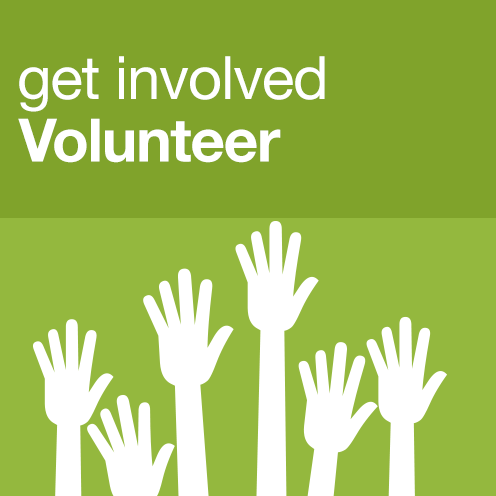 Text: Get involved. Volunteer Image: graphic of hands raised