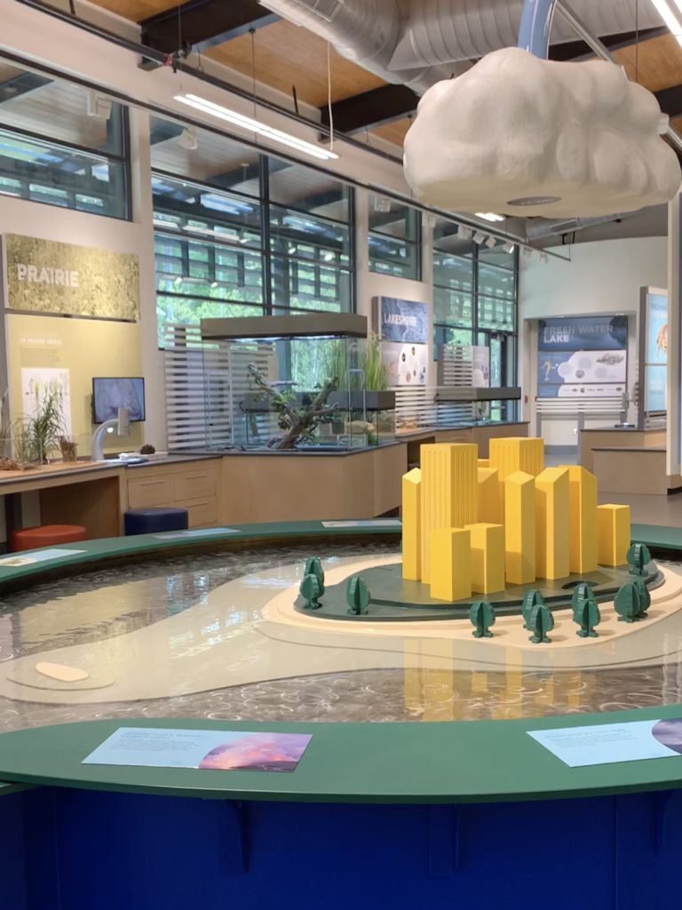 A photo of the inside of Quest at Latta Nature Preserve displaying the Prairie and water exhibit.